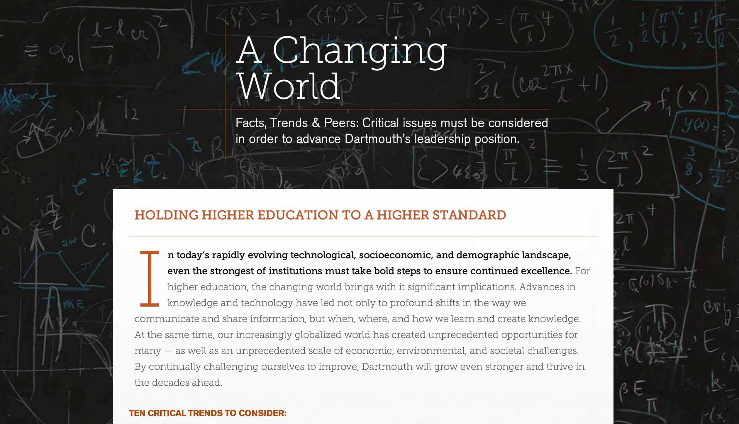 Dartmouth Strategic Planning Changing World