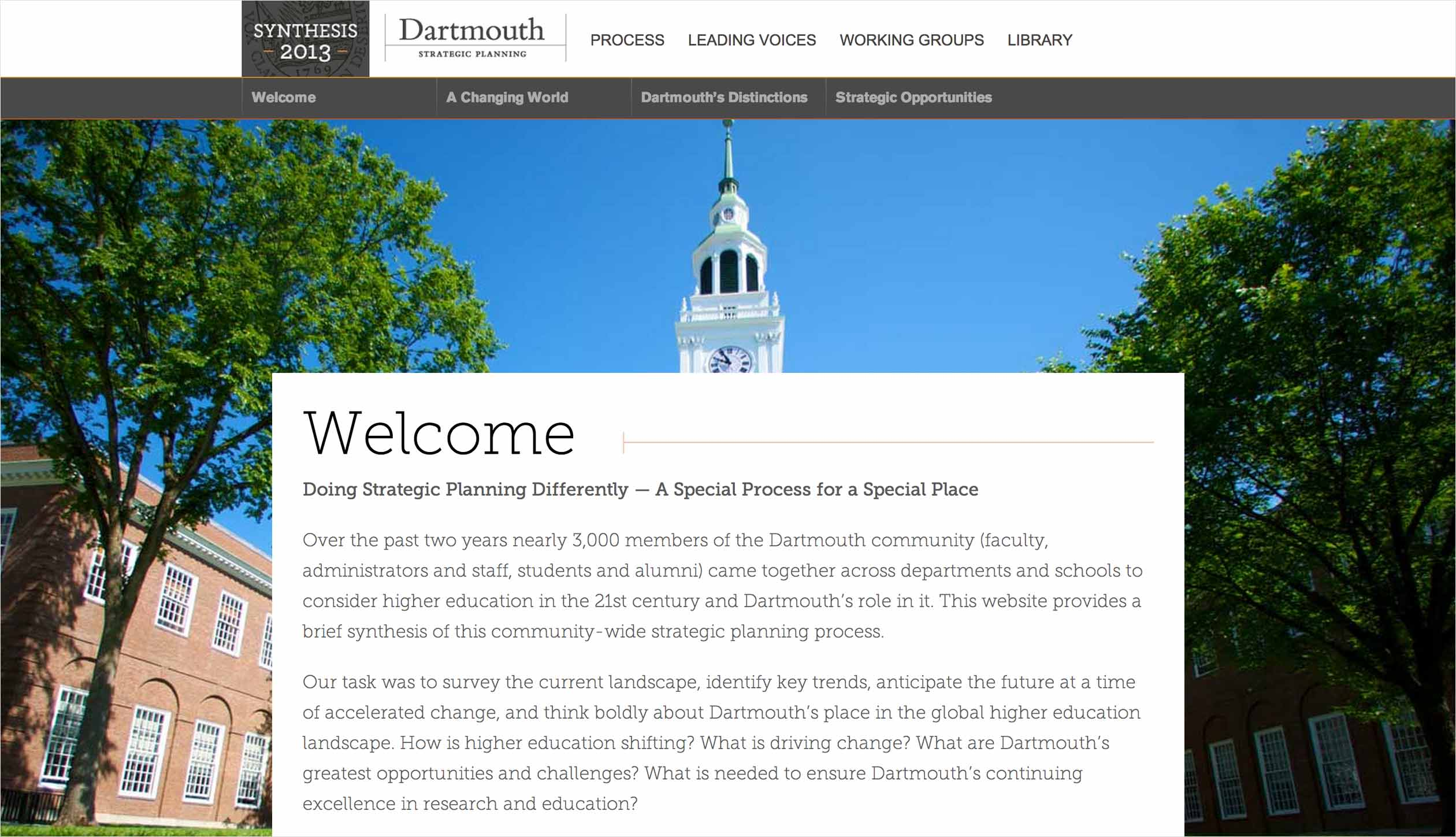 Dartmouth Strategic Planning welcome page