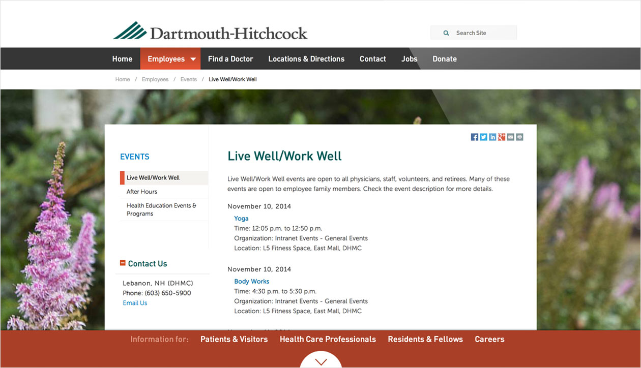 Dartmouth Hitchcock interior page