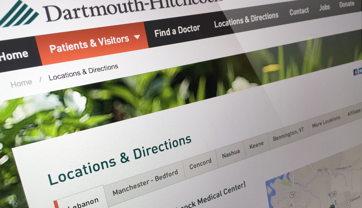 Dartmouth Hitchcock locations & directions page