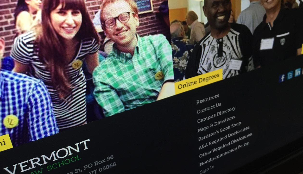 Vermont Law School website footer