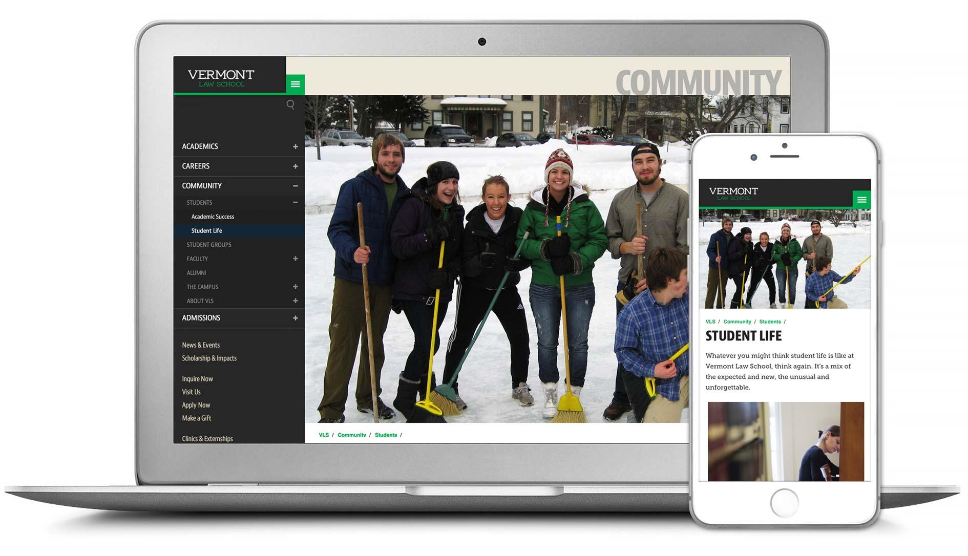 Vermont Law School responsive website