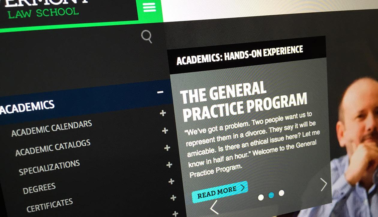 Vermont Law School website navigation