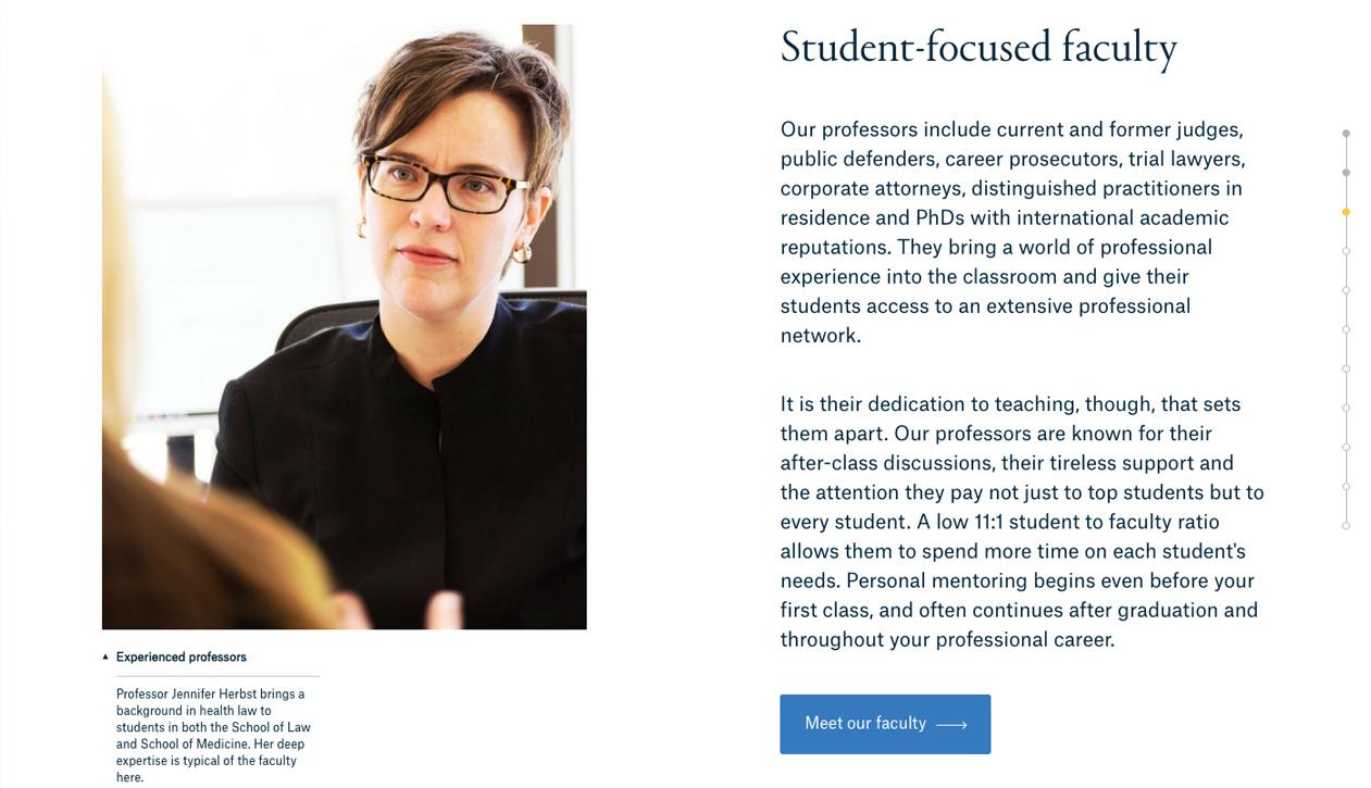 Quinnipiac University School of Law website re-branding, photography, writing